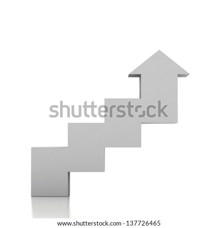 3d stairway and arrow - stock photo