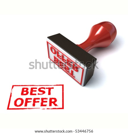 3d stamp best offer - stock photo