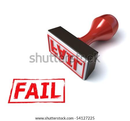 3d stamp fail - stock photo