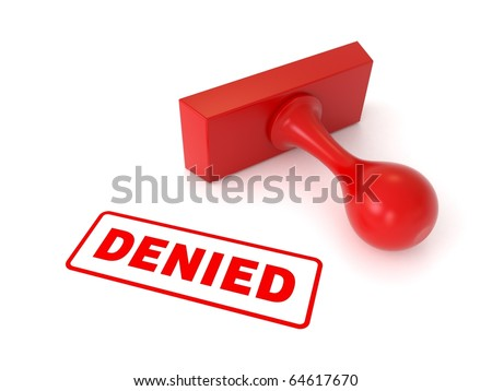 3d stamp with text DENIED from my stamp collection - stock photo