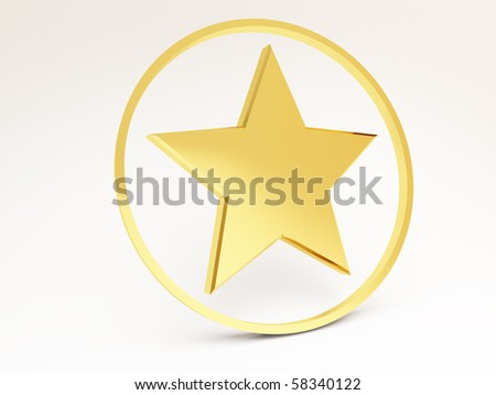3D star in a ring - stock photo