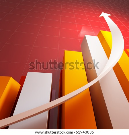 3d stat with growing arrow business background - stock photo