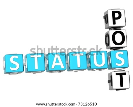 3D Status Post Crossword on white background - stock photo