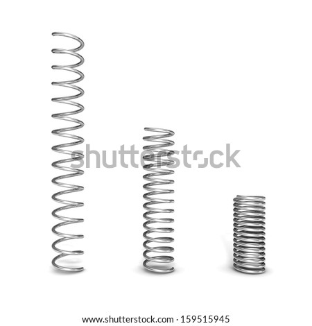 3d steel springs isolated over white background. - stock photo