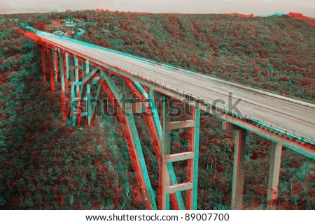 3D stereo anaglyph  bridge in Matanzas, Cuba .View with red/cyan glasses. - stock photo