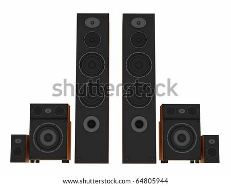 3d stereo speakers on white - stock photo