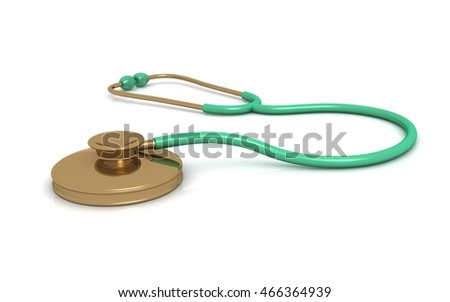 3D stethoscope on a white background