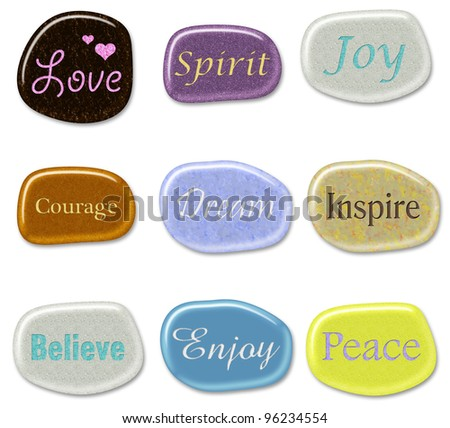 3D Stones - Inspirational Words - stock photo