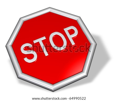 3D stop sign - stock photo
