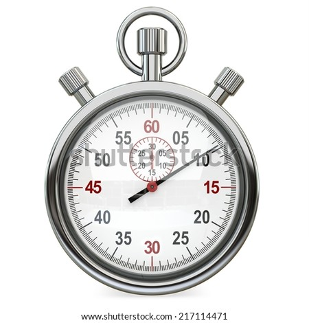 3d Stopwatch, time concept isolated on a white background