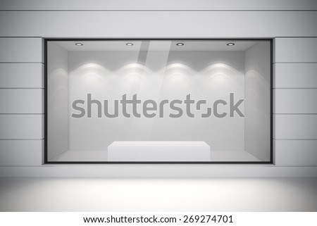 3d store front with big windows