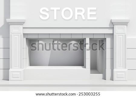 3d store shopfront with big windows - stock photo