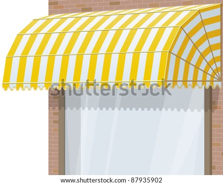 3d Storefront. Exterior windows with yellow awning. - stock photo