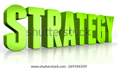 3D strategy text on white background - stock photo