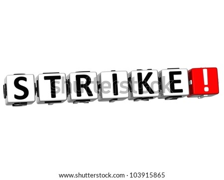 3D Strike Button on white background - stock photo