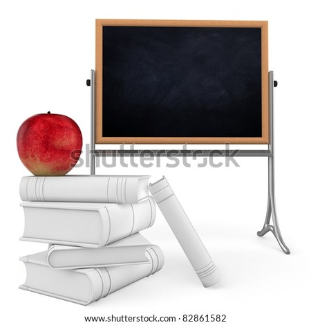 3d student books and blackboard back to school on white background