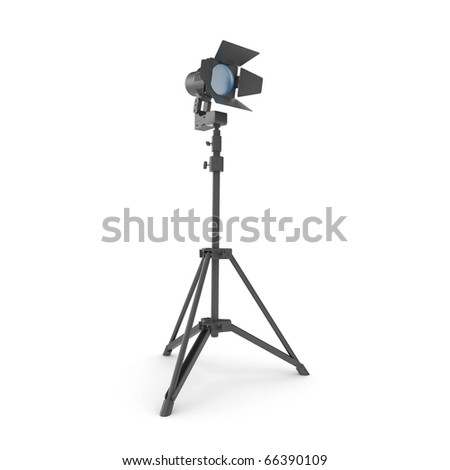 3d studio light with stand isolated on white