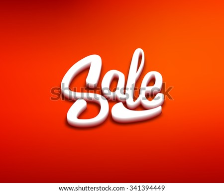 3D styled Sale text on red blurred background. Retail promotion banner design template for discount offer or clearance