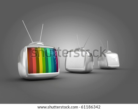 3d Stylish classic televisions -colorful no signal - stock photo