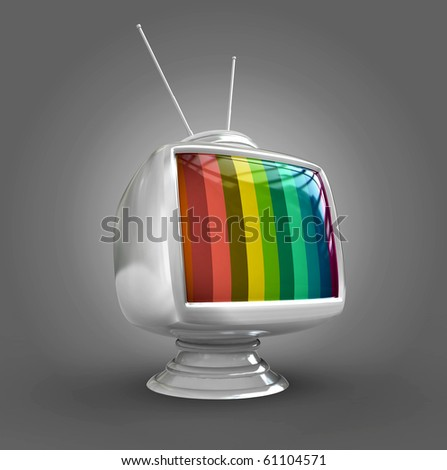 3d Stylish classic tv -colorful no signal - stock photo