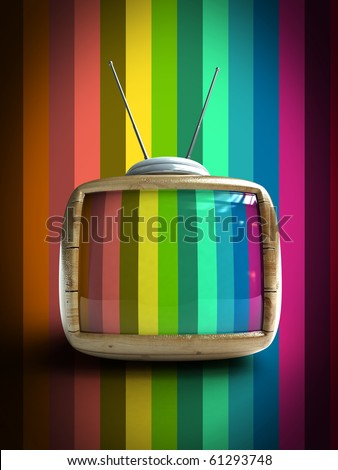 3d Stylish wooden classic tv -colorful no signal background - stock photo