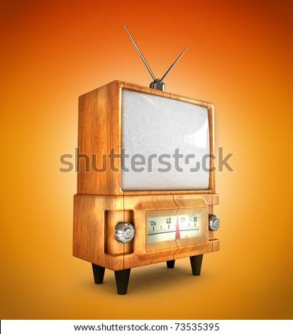 3D Stylish Wooden Retro Tv - stock photo