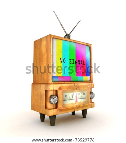 3d Stylish wooden retro tv with no signal text - stock photo