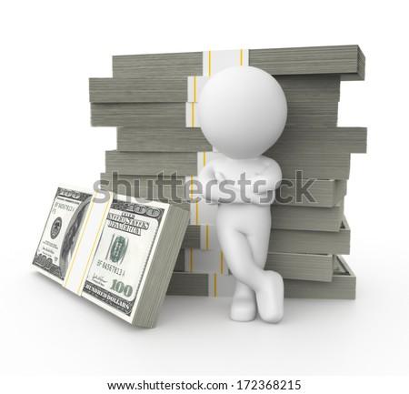 3d stylized businessman with money stacks, isolated on white background - stock photo