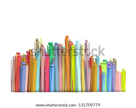 3d stylized crowd composition with rectangular shapes on white - stock photo