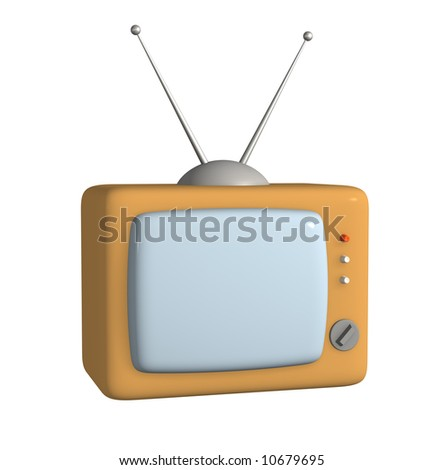 3d stylized model of a retro of the television. Objects over white - stock photo