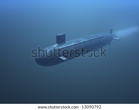 3D submarine under water front view - stock photo