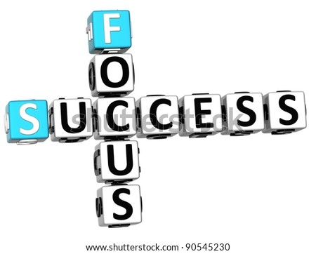 3D Success Focus Crossword on white backgound - stock photo