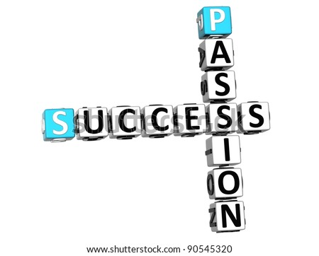 3D Success Passion Crossword on white backgound - stock photo