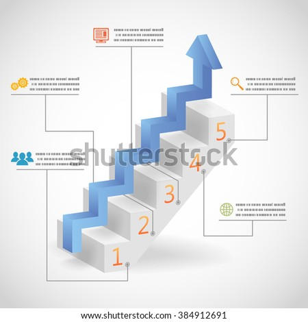 3d Success Steps Concept Arrow and Staircase Infographic Icons Illustration - stock photo
