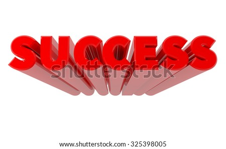 3D SUCCESS word on white background 3d rendering