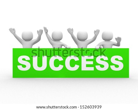 3D successful business group - isolated over a white background  - stock photo