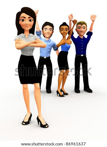 3D successful business group with arm up - isolated - stock photo