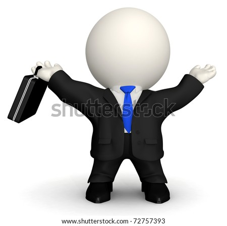 3D successful business man - isolated over a white background - stock photo