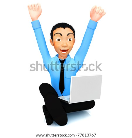 3D successful business man with a laptop and arms up - stock photo