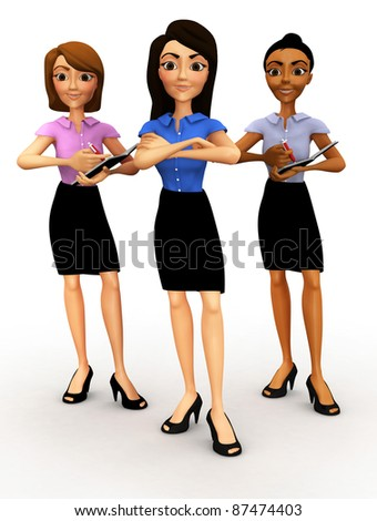 3D successful business women - isolated over a white background - stock photo