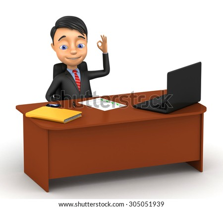 3d successful businessman sitting at a desk on a white background