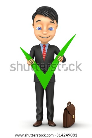 3d successful businessman with a big tick - stock photo