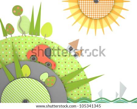 3d summer traveling cartoon car - stock photo