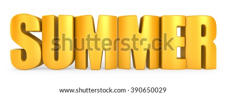 3D summer word on white isolated background - stock photo