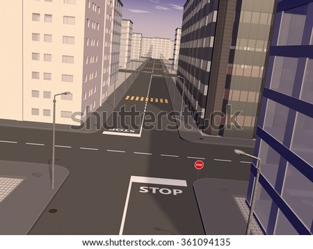 3D sunny weather cityscape representing a crossing and various modern buildings a round it - stock photo