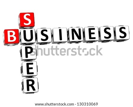 3D Super Business Crossword on white background - stock photo