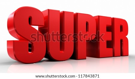 3D super word on white isolated background