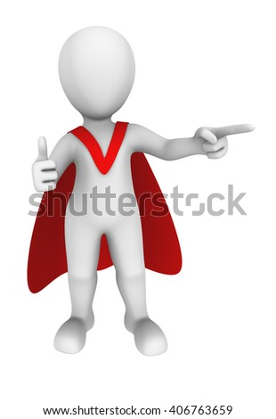 3d superhero shows thumbs up. 3d illustration