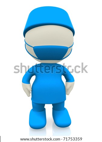 3D surgeon in blue uniform - isolated over a white background - stock photo