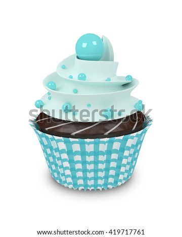 3d sweet cupcake with pearls isolated on white background - stock photo